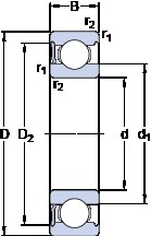 30 mm x 62 mm x 16 mm  SKF 6206-RS1 deep groove ball bearings