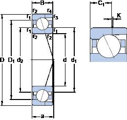 25 mm x 47 mm x 12 mm  SKF 7005 ACD/HCP4AH angular contact ball bearings