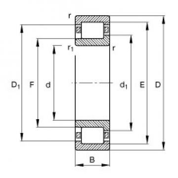 95 mm x 240 mm x 55 mm  FAG NJ419-M1 cylindrical roller bearings