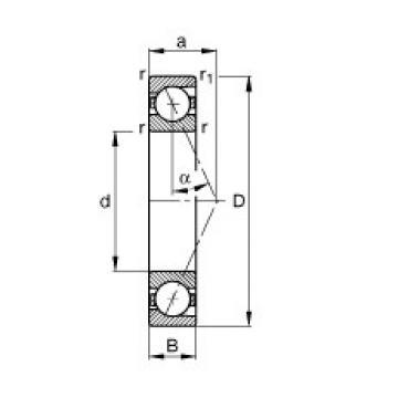 160 mm x 220 mm x 28 mm  FAG B71932-E-T-P4S angular contact ball bearings