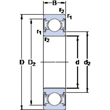 25 mm x 47 mm x 12 mm  SKF 6005-2RSL deep groove ball bearings