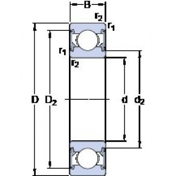 17 mm x 40 mm x 12 mm  SKF 6203-2RSH deep groove ball bearings