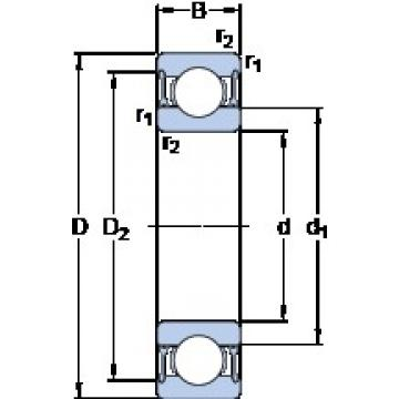 25 mm x 47 mm x 12 mm  SKF W 6005-2RZ deep groove ball bearings