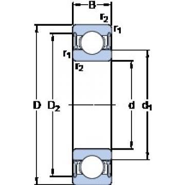 30 mm x 62 mm x 16 mm  SKF W 6206-2RZ deep groove ball bearings