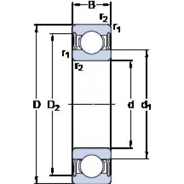 30 mm x 62 mm x 16 mm  SKF W 6206-2RS1 deep groove ball bearings