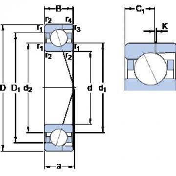 25 mm x 47 mm x 12 mm  SKF 7005 ACD/P4AH angular contact ball bearings